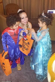 Mariah Carey and twins Moroccan and Monroe: Princesses and Spider-Man http://dailym.ai/1wltt8j #Halloween