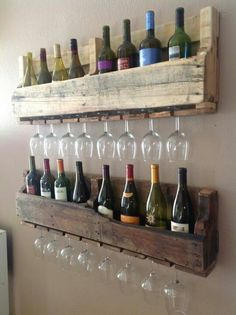 Wine rack out of wood pallet. Tons of uses to repurpose pallets