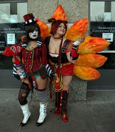 Mad Moxxi from the video game Borderlands, with Firefox Ahri from the MMOG League of Legends