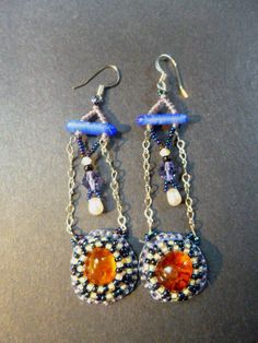 Amber Drop Bead Embroidered Earrings by RobinBlueBeadworks on Etsy