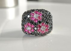 BIG Sterling Silver 925 Designer Black Spinel Ruby Cluster Cocktail Ring Size 5 #RossSimons #Cocktail #ValentinesDay Sterling Jewelry, Gemstone Jewelry, Sterling Silver, Evening Attire, Black Spinel, Wholesale Jewelry, Cocktail Rings, Valentines Day, Jewelery