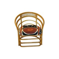 Image of Vintage Rattan Suzani Accent Chair