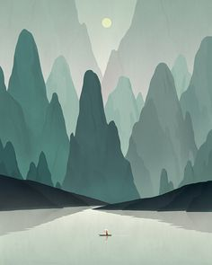 Space is created by colouring the mountains in the back lighter, and by making the river like a triangle