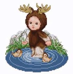 Moose Baby Cross Stitch Pattern