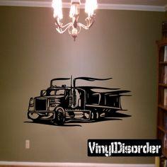 Semi Truck Wall Decal - Vinyl Decal - Car Decal - DC 015