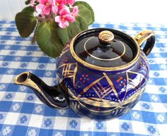 Fancy Cobalt Blue Teapot Brown Betty Large 8 Cup 1930s Hand Painted Coralene Gold