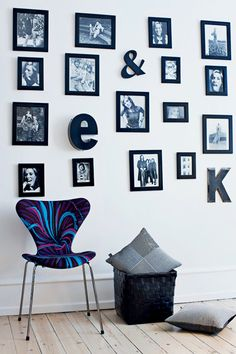 black photos + letters ... ignore the chair and awkward pillow basket