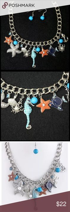 "D27 Silver Ocean Starfish Seahorse Charm Necklace ‼️ PRICE FIRM UNLESS BUNDLED WITH OTHER ITEMS FROM MY CLOSET ‼️    Ocean Theme Necklace  Really fun and stylish necklace. Sure to dress up any outfit. Silver color metal with various sea life charms.  Lobster clasp.  Necklace is approximately 18.5"", including the 3"" of extender chain.  Earrings hang down approximately 1""   Please check my closet for many more items including designer clothing, scarves, shoes, handbags & much more! Jewelry…"