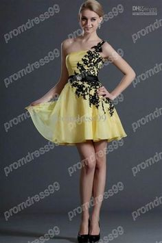 Cool yellow and black cocktail dress