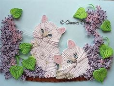 Framed quilled Kittens with lilacs - quilling artist name in watermark