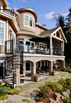 Like the general shape of the deck/patio w/ the stairs. Would probably stucco instead of brick to match the house Deck Design, House Design, Landscape Design, Modern Roofing, Backyard Patio Designs, Deck Patio, Roof Styles, Roof Architecture, My Dream Home