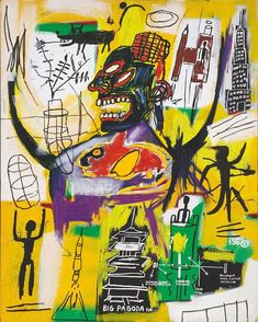 Artwork by Jean Michel Basquiat, PYRO, Made of acrylic, silkscreen ink and oil stick on canvas Jean Michel Basquiat Art, Jm Basquiat, Banksy Paintings, Basquiat Paintings, Inspirational Artwork, Graffiti, Jean Dubuffet, Guernica, Art Brut
