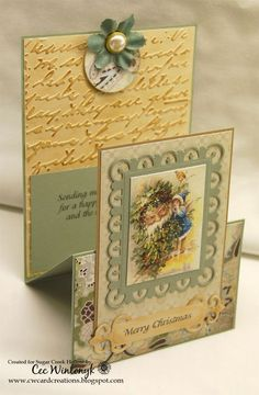 handmade Christmas card ... vintage look ... special fold that stands up and reveals a sentiment on the inside ...: