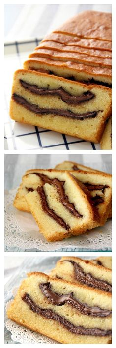 Nutella Pound Cake Recipe. Super rich, buttery, sweet pound cake loaded with THICK swirls of Nutella. The most amazing pound cake EVER! http://rasamalaysia.com
