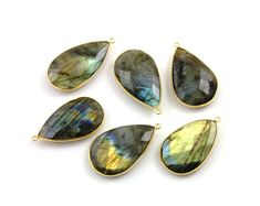 Amazing Blue Flash Labradorite Gold Bezel Faceted by Beadspoint