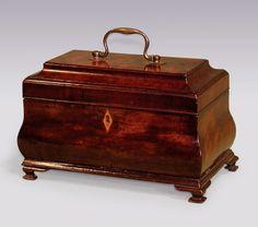 OnlineGalleries.com - 18th Century mahogany bombée form Tea Caddy