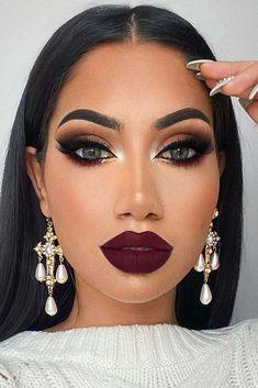 Matte Brown Smokey With Purple Lipstick Makeup Burgundy Makeup Look, Glam Makeup Look, Sexy Makeup, Gorgeous Makeup, Beauty Makeup, Makeup Looks, Hair Makeup, Maskcara Beauty, Purple Lipstick Makeup