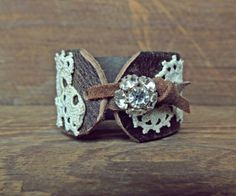 Leather Cuff Bracelet / Leather And Lace / Rhinestone by AFOLKTALE, $28.00