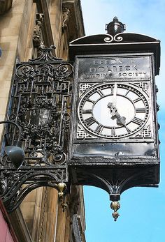 Elaborate timepiece in Broad Street, Bristol. The faded lettering says Leeds and Holbeck Building Society. This makes me think of my girl Lisa who was born and bred in Bristol! I'll definitely be visiting there someday. Unique Clocks, Cool Clocks, Vintage Clocks, Building Society, Father Time, Time Stood Still, As Time Goes By, Time Clock, Leeds