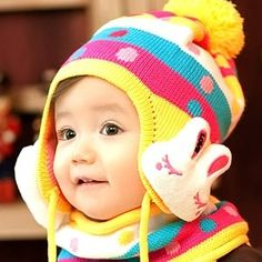korean autumn and winter cute candy rabbits children hat baby hat ...