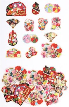 cute small Happy New Year stickers with colorful fans Set C 6