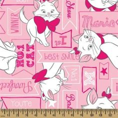Disney Aristocats Marie Signs Best in Show Pink ~ 4my3boyz Fabulous Fabrics by the Fat Quarter and More