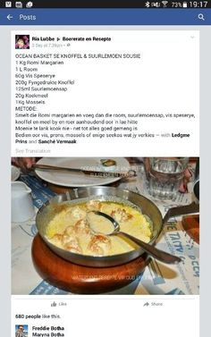 Braai Recipes, Seafood Recipes, My Recipes, Cooking Recipes, Favorite Recipes, Lunch Recipes, Recipies, Kos, South African Recipes