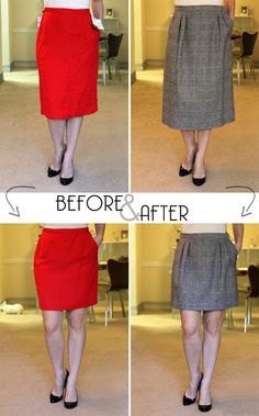1. Go to Goodwill 2. Find skirts in patterns and colors you like, oversized. 3. Have them hemmed into pencil skirts or whatever cut you desire