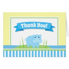 Hippo Boy Thank You Card Folded Note Card - baby gifts child new born gift idea diy cyo special unique design