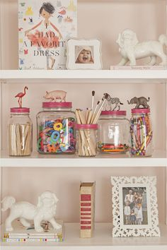 Jars embellished with animals and painted tops for craft supplies