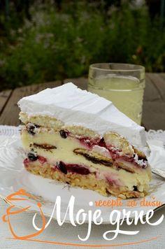 Voćna keks torta is part of Desserts Voćna keks torta - Jednostavne Torte, Brze Torte, Torte Recepti, Kolaci I Torte, Bakery Recipes, Dessert Recipes, Just Desserts, Delicious Desserts, Quick Cake