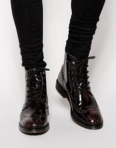 Burgundy Leather Brogue Boots by Asos. Buy for $104 from Asos