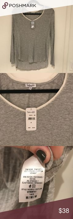 Splendid nwt grey long sleeved shirt white vneck Brand new with tags super soft grey shirt that was a gift.  Cuts on sides for extra comfort.  Lightweight please ask with any questions! Splendid Tops Tees - Long Sleeve