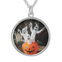 Three #Ghosts #Halloween Silver Necklace http://zazzle.com/MarshaIsArt*
