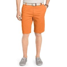 Men's IZOD Flat-Front Chino Shorts, Size: 34, Orange