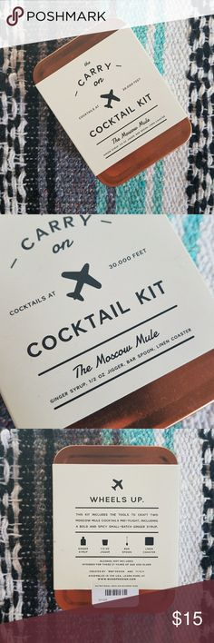 Moscow Mule Carry On Cocktail Kit Travel Vacation Super cute gift or somethubg special for an upcoming vacation. Moscow mule carry on cocktail kit from Paper Source. Brand new with tags. Includes cute snap close tin, ginger syrup, 1/2 oz metal jigger, metal bar spoon and linen coaster. W&P Design Other