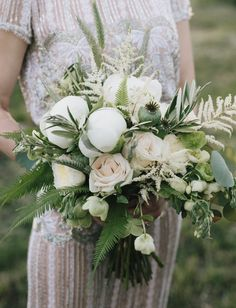 peony bud bouquet in creamy white and green
