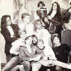 Max Martin before he got famous in the glasses, Klas Åhlund with guitar, Alexander Kronlund  in the glasses with long dark curly hair in School in 1989