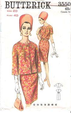 Vintage des années 60 Butterick 3550 Wiggle robe et veste avec manches trois quart couture motif, Uncut Buste 40