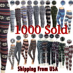 Women's Print New Winter Thick Warm Fleece Lined  Stretchy Leggings Pants Warm  #TD