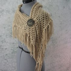 Crochet Pattern Womens Shawl Triangle Fringed Wrap Or Scarf With Button Closure Instant Download May Resell Finished by kalliedesigns on Etsy