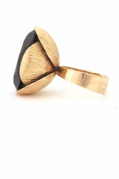 Elis Kauppi for Kupittaan Kulta, Finland - vintage extra large gold & smoky quartz large cocktail ring #ring #Finlandjewelry