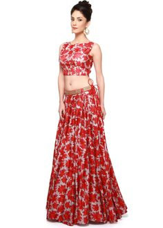 Red and grey lehenga with crop top matched with belt only on Kalki