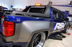 Roadster Shop chevy truck widebody brushed machined grey blue black custom