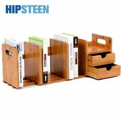 Hipsteen прочный бамбук Настольный Книги helf Extensile офисные Книги органайзер для хранения полка с ящиком-дерево Цвет