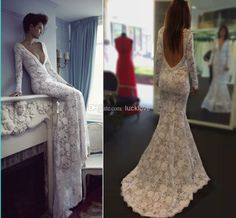 Wholesale Backless Wedding Dress - Buy New Sexy Lace Berta Wedding Dresses Deep V Neck Long Sleeves Mermaid Backless Sweep Train Lace Bridal Gowns Hot Sale Customed 2013, $153.43 | DHgate