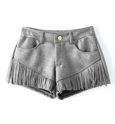 Western Style Fringed Faux Suede Shorts