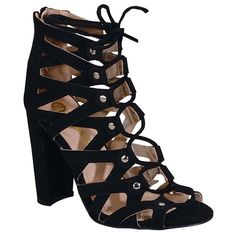 Chase-Chloe-EC39-Womens-Studded-Caged-Lace-Up-Zip-Block-Heel-Dress-Sandals