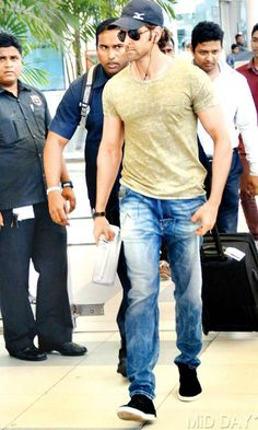 Spotted: Hrithik Roshan at the Mumbai airport. #Style #Bollywood #Fashion…
