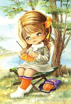 Vintage postcard from the 70s, Big Eyed Girl | Flickr - Photo Sharing!
